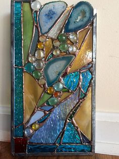 Stained Glass Panel Abstract Window with Agates by HelioGlass Stained Glass Ornaments, Stained Glass Lamps, Stained Glass Designs, Stained Glass Panels, Stained Glass Projects, Stained Glass Patterns, Modern Stained Glass, Artisanal, Mosaic Art