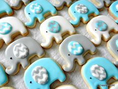 Mini Elephant cookieswith Chevron ears  for baby showers by 3CSC, $25.99
