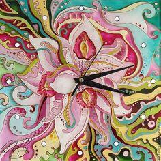 """Купить Часы """"Орхидея"""" - часы настенные, часы настенные из стекла, орхидея, часы с росписью"""
