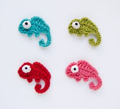 PDF Crochet Pattern - Chameleon Applique - Text instructions and SYMBOL CHART instructions - Permission to Sell Finished Items. $2.99, via Etsy.