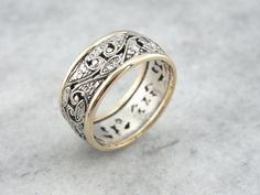 Wide Filigree Wedding Band in Yellow and White Gold by MSJewelers Dainty Engagement Rings, Filigree Engagement Ring, White Gold Wedding Bands, White Gold Rings, Silver Ring, Gold Diamond Band, Celtic Wedding Rings, Womens Wedding Bands, Wedding Jewelry