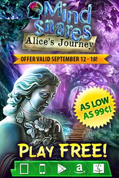 Weekly SALE! Mind Snares: Alice's Journey is up to 80% off! Do you have enough nerve to defeat your biggest fears? Starting today through September 18th, get the heart-pounding hidden object adventure Mind Snares: Alice's Journey for as low as 99¢ on ALL platforms! When Alice finds herself in a hospital (or so she thinks) after a car accident, she must conquer a mysterious Shadow and escape a terrifying world! Learn more: http://www.g5e.com/sale