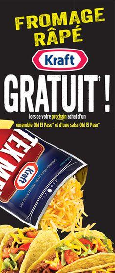 Fromage râpé Kraft gratuit avec achat.  fin le 31 juillet.  http://rienquedugratuit.ca/coupons/fromage-rape-kraft-gratuit/