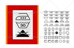 Washing Symbols On Clothing Labels — Photoshop PSD #cotton #wash care symbol • Available here → https://graphicriver.net/item/washing-symbols-on-clothing-labels/2794018?ref=pxcr