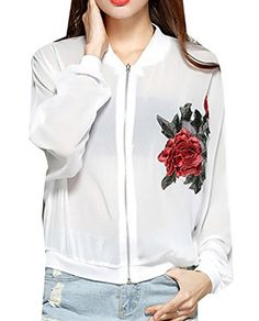 Papijam Women's Casual Floral Embroidery Zipper Thin Plus Size Jacket White X-Large #outfitoftheday -- Check this awesome sponsored product by going to the link at the image.