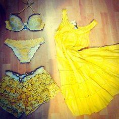 Raffaela D'Angelo water flow theme near the Parisian theme of Valery Beachwear. summer 2015 #yellow #vibes #raffaeladangelo #valerybeachwear