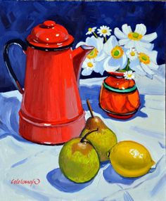 Study with Red Coffee Pot - Frank Colclough Painting