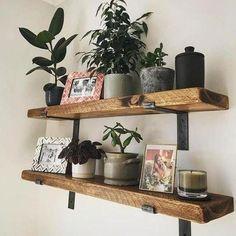 Metal Floating Shelves, Rustic Wooden Shelves, Wood Wall Shelf, Rustic Walls, Wooden Walls, Industrial Wall Shelves, Wooden Shelves Kitchen, Wood And Metal Shelves, Wall Shelves Design