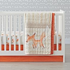 Shop Fox Crib Bedding.  This sly little fox crib bedding set has a few tricks up its sleeve.  It's made from 100% cotton and features a playful crowd of printed foxes.