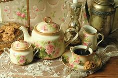 Berlin Roses Tea Service, Victorian Trading Co.  The beloved china artist, Catherine Klein, was born in Germany in 1861 and immortalized roses upon porcelain. Her floral renderings were so real as to seem fragrant. Set includes: teapot, creamer & sugar, two teacups/saucers.