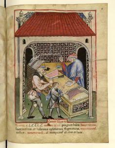 Nouvelle acquisition latine 1673, fol. 66, Marchand de salaison. Tacuinum sanitatis, Milano or Pavie (Italy), 1390-1400.