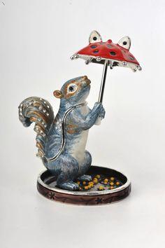 A Squirrel with Umbrella Trinket Box by Keren Kopal Faberge Inspired Austrian Crystal.