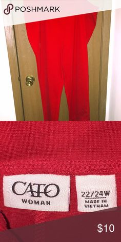 Red pants by Cato Red pants by Cato. Thick elastic waist, no button or zipper. 22/24, short-average length. Cato Pants Skinny