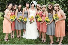 coral and gray bridesmaid dresses. photo by @kelliekano
