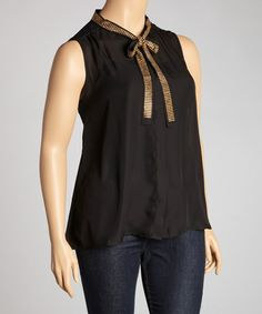 Take a look at this Black & Gold Sheer Sleeveless Top - Plus by Madison Paige on #zulily today! $20 !!
