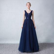 2016 novo frisado chegada longo vestido de noite V - pescoço a-line vestido Formal elegante vestidos de festa Backless vestido de festa(China (Mainland))