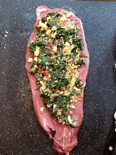 Spinach & garlic stuffed pork. | Knead to Cook.  I would be tempted to use chicken myself