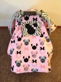 Minnie Mouse car seat canopy by SaraSewtique on Etsy, $50.00