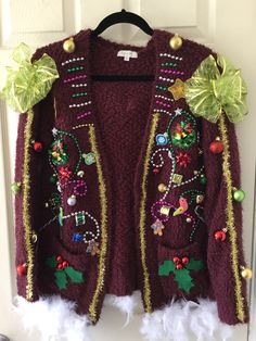 Unique Ugly Christmass sweater ,Tacky Christmas sweater,One Of a kind chocolate color Christmas sweater by GiftycraftyArt on Etsy Homemade Ugly Christmas Sweater, Ugly Christmas Sweater Women, Christmas Sweaters, Tacky Sweater, Ugly Sweater Party, Sweater Cardigan, Sweater Outfits, Christmas Party Outfits, Christmas Ideas