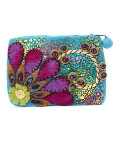 Love this Teal Flower Burst Wool Coin Purse by Rising Tide on #zulily! #zulilyfinds