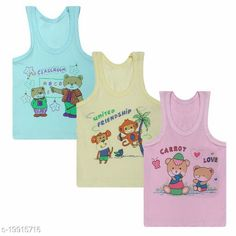 Checkout this latest Innerwear Product Name: *Stylish vest cum tshirt for baby boy and girl* Fabric: Cotton Pattern: Printed Type: Vests Multipack Set: 3 Sizes:  0-3 Months (Chest Size: 12 in, Waist Size: 12 in, Length Size: 14 in)  Country of Origin: India Easy Returns Available In Case Of Any Issue   Catalog Rating: ★4.3 (4495)  Catalog Name: Modern Amazing Kids Boys Vest CatalogID_4126108 C59-SC1187 Code: 712-19915716-537
