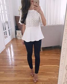 Love the peplum, detail, and sleeves on this top