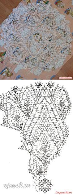 Большая салфетка (крючок) - Вязание - Страна Мам Free Crochet Doily Patterns, Crochet Doily Diagram, Tatting Patterns, Filet Crochet, Crochet Motif, Crochet Lace, Crochet Dollies, Crochet Potholders, Doily Art
