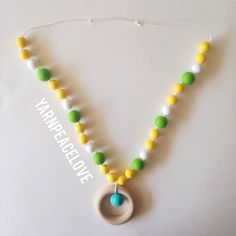 Green Yellow & White Silicone Bead Teething Nursing Necklace by YarnPeaceLove on Etsy, $25.00