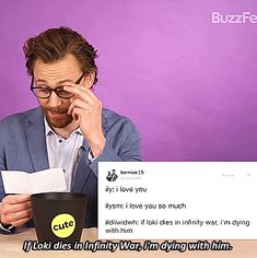 "thehumming6ird: """"Tom reacts to fan tweets "" "" Tom Hiddleston. #InfinityWar promo. Click on the image to see the whole set."