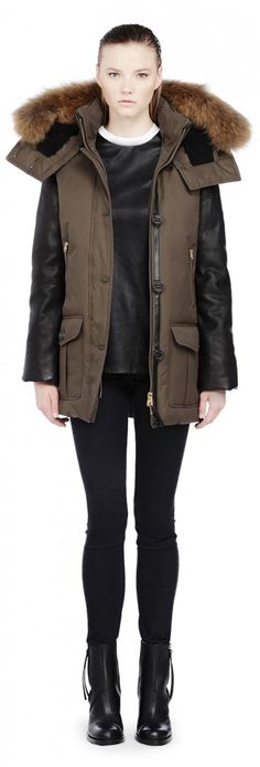 Just give me this jacket.  Mackage - CYNTHIA MOSS DOWN PARKA WITH FUR AND LEATHER SLEEVES