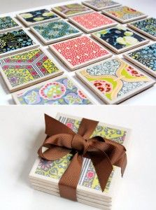 Tile coasters with ModPodge and scrapbook paper