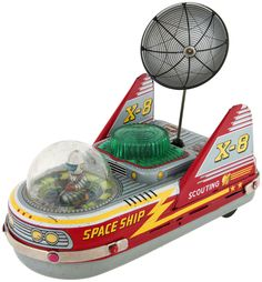 """SPACE SHIP X-8"""" JAPANESE BATTERY-OPERATED SPACE TOY"""