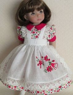 Christmas/Holiday Poinsettias Dress Pinafore Slip for Effner Little Darling Doll | Dolls & Bears, Dolls, Clothes & Accessories | eBay!