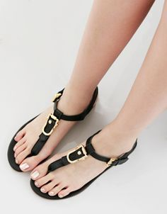 gold buckle point T-strap flat sandal