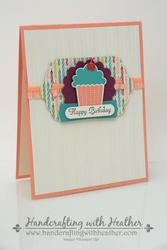 Create a Cupcake and Birthday Basics Canteloupe Birthday Card by hvanlooy - Cards and Paper Crafts at Splitcoaststampers