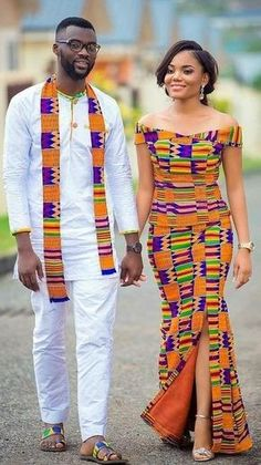 African print kente wear, african fashion, ankara, kitenge, african women d Couples African Outfits, African Clothing For Men, African Dresses For Women, Couple Outfits, African Attire, African Wear, African Fashion Dresses, African Print Dresses, African Women