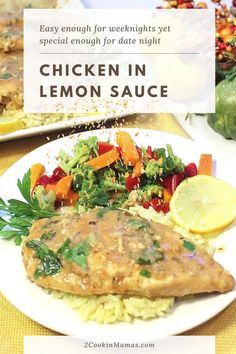 This Chicken in Lemon Sauce dinner may look like it took hours to make but can be on the table in a little over 30 minutes. Simply brown the chicken in a skillet with garlic then add the wine, seasonings and lemon juice. The lemon sauce is so good you might want to use it on everything! Great for easy weeknight family dinners and yet special enough for company. #lemonchicken #easydinner #easyrecipe #chickenwithlemonsauce #oneskilletdinner #2CookinMamas Lemon Sauce For Chicken, Creamy Lemon Chicken, Crockpot White Chicken Chili, Skillet Chicken, Meat Recipes, Healthy Recipes, Healthy Meals, Easy Thanksgiving Recipes, Garlic