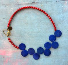 Japanese Touch - necklace lipstick red coral and cobalt blue antiqued wood stones