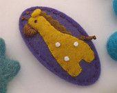 NO SLIP Wool felt hair clip -new giraffe -violet