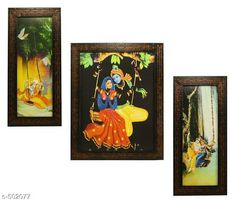 Paintings & Posters Radha Krishna Paintings (Set Of 3) Material: Wood & Plastic Size: (L x W) - Frame 1 - 5.2 in x 12.5 in Frame 2 - 9.5 in x 12.5 in Frame 3 - 5.2 in x 12.5 in Description: It Has 3 Pieces Of Wall Paintings Work: Printed Note: Glass Not Included Country of Origin: India Sizes Available: Free Size   Catalog Rating: ★4.1 (490)  Catalog Name: Spiritual Wall Paintings Vol 20 CatalogID_55286 C127-SC1611 Code: 023-502077-756