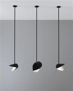 pendant lights in black and white   lighting . Beleuchtung . luminaires   Design: Serge Mouille  