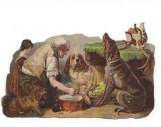 Victorian Die Cut Scraps From Famous Painting of Man Helping Dogs Advertising