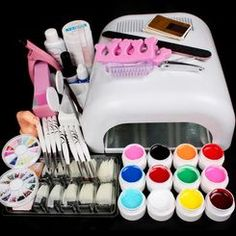 AENMIL Set Pro Nail Art Decorations Tools Nail Art UV Curing Lamp Dryer Painting Brush Pen Nail Glue 12 Color UV Gel Practice Finger Nail Separator Buffer Block Clean Brush Tool Kit *** Continue with the details at the image link. Gel Nail Set, Nail Art Set, Manicure Set, Pedicure, Manicure Tools, Shellac, Gel Acrylic Nails, Uv Gel Nails, Lampe Uv