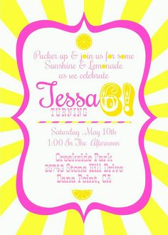 sunshine and lemonade party invitation