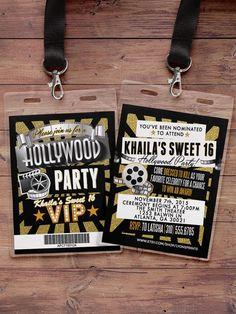 Hollywood Birthday, Sweet 16, VIP PASS, backstage pass, Vip invitation, birthday…