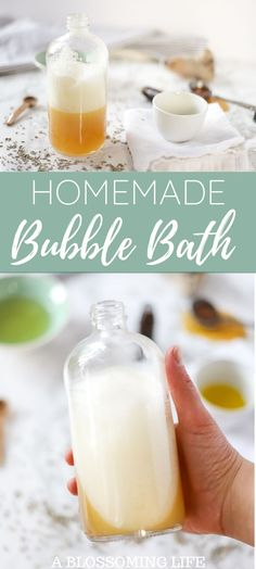 All-natural homemade bubble bath is a relaxing way to take a bath without drying out your skin. This super moisturizing DIY bubble bath recipe can help soothe skin and is healthy too. Bubble Bath Soap, Bubble Bath Homemade, Bubble Diy, Homemade Bubbles, Bath Bubbles Diy, Bubble Baths, Natural Living, How To Make Bubbles, How To Make Homemade