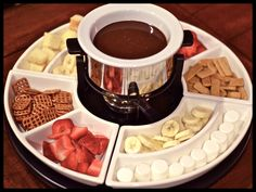Chocolate Fondue {one cup of whipping cream, 1 bag of chocolate chips, melted together}