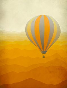 Hot Air Balloon Art Print Orange nad Grey Nursery Decor by evesand