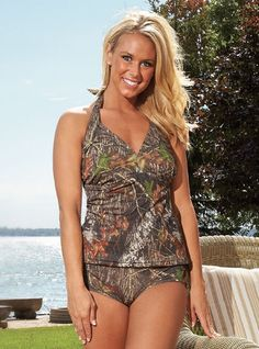 I want!!! ♥♥♥  Womens Mossy Oak Halterkini Swimsuit Top Camo Lingerie Beach Bathing Suit - Plus Size