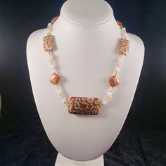 cloisonne necklace with champagne crystal, white jade, gold overlay, shades of fall
